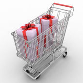The silvery store cart full of gifts — Stock Photo