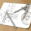 Stock Photo: Compasses drawing and pencil