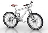 велосипедов, изолированные на белом фоне с отражением — Стоковое фото