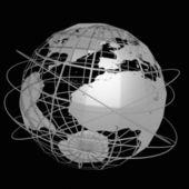 Globe art on the black background — Stock Photo