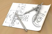 Compasses drawing and a pencil — ストック写真