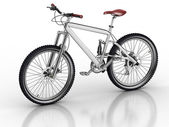Bicycle isolated on white background with reflection — Stock Photo