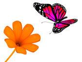 Bloem en de vlinder — Stockfoto