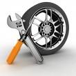 roda e ferramentas — Foto Stock #8364970