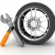 Wheel and Tools — Stock Photo #8364979
