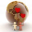 Loving couple on a background a globe — Stok fotoğraf