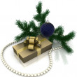 Christmas gift with branch firtree — Stock Photo