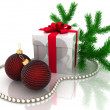 Christmas gift with branch fir-tree — Stock Photo