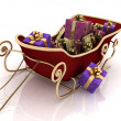 Christmas Santa sledge with gifts — Stock Photo