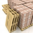 Stock Photo: Cardboard boxes on wooden pallets