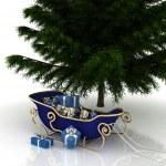 árbol de Navidad y Navidad santa trineo con regalos — Foto de Stock