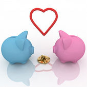 Two piggy-bank with gift and heart — Stock Photo