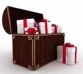 Treasure chest with gift boxes — Stock Photo