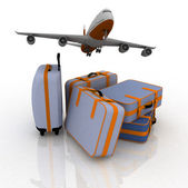 Airliner and suitcases — Stock Photo
