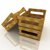 Empty wooden boxes — Stock Photo