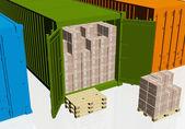 Kartons, paletten und behälter öffnen — Stockfoto