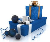 Boxes with christmas gifts — Stock Photo