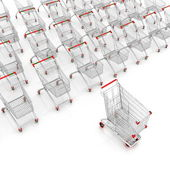 Many shopping carts — Stock Photo