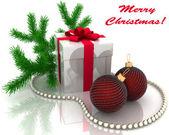 ブランチ モミの木とクリスマスのギフト — ストック写真