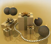 Christmas gift with a necklace from pearls — Foto de Stock
