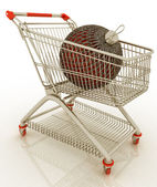 Shopping cart full with christmas ball — Stock Photo