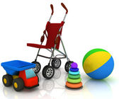 Carriage and children's toys — Stock Photo