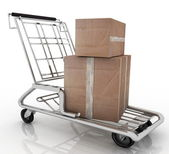 Hand truck with two cardboard boxes — Stock Photo