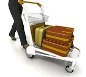 Man rolls light cart with luggage — Stok fotoğraf