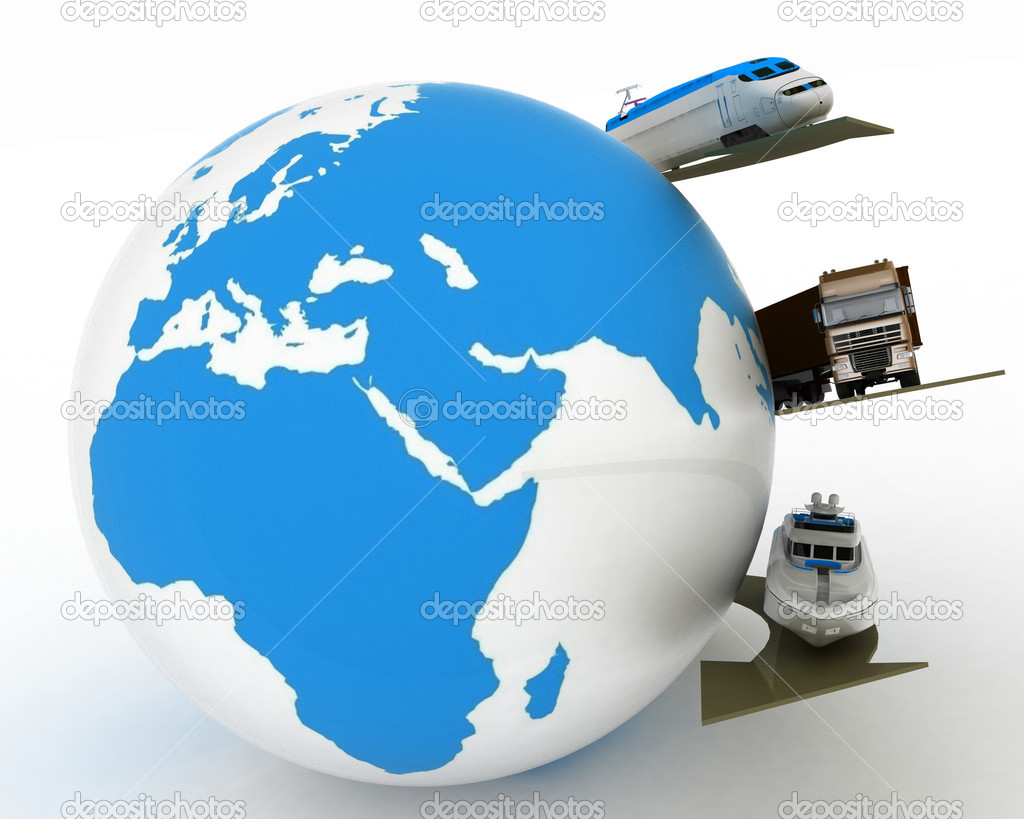 Types of transport on a background map of the world  Stock Photo #8364886