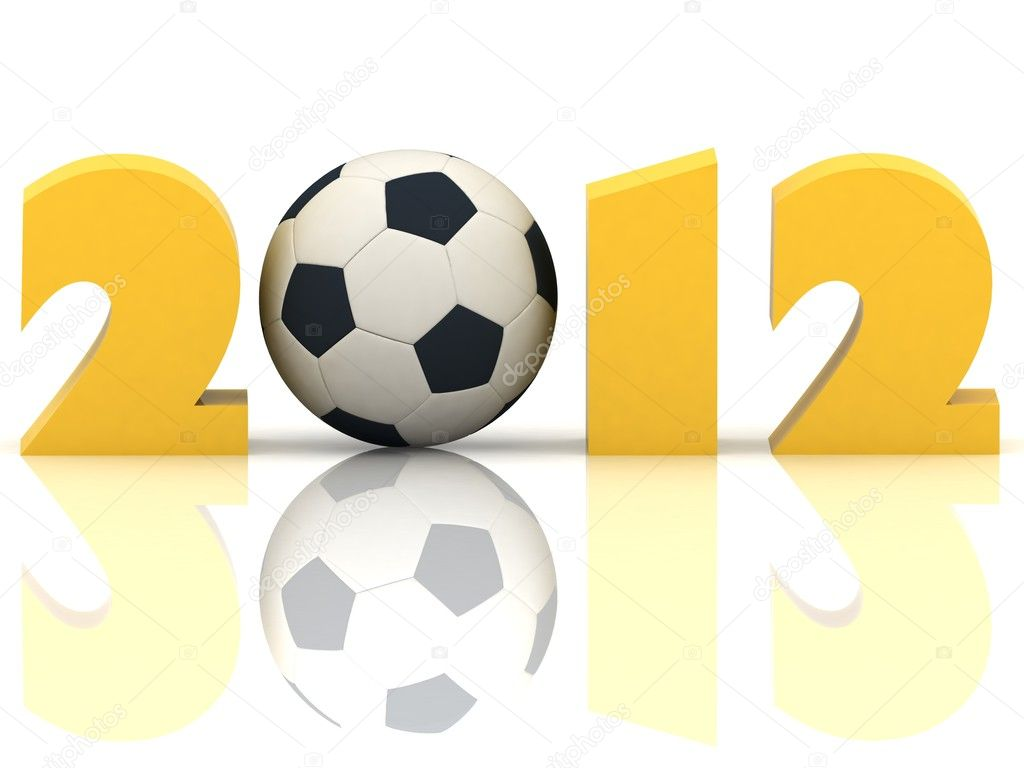 2012 year and soccer-ball on a white background — Stock Photo #8366307