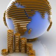 Globe with many gold coins — Stock Photo