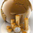 Gold globe with many gold coins and clock — Lizenzfreies Foto