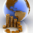Gold globe with many gold coins — Stock Photo