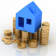 Stock Photo: House standing on a heap of coins