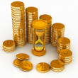 Hourglass and coins — Stockfoto #8376687