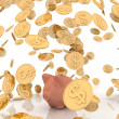 Raining gold coins and piggi-bank - Stock Photo