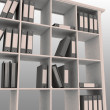 Book shelf with instruments for office — Stock Photo