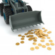 Bulldozer raked pile of coins - Stock Photo