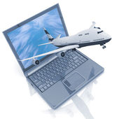 The plane takes off from the laptop monitor — Stock Photo