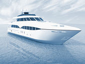 Luxusní bílá výletní jachta — Stock fotografie