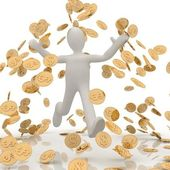 Man in the rain of coins — Stock Photo