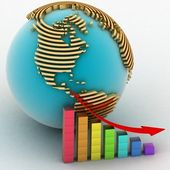 Obniżenie wykres z wskaźnikiem na tle świata — Zdjęcie stockowe