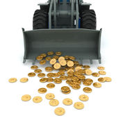 Bulldozer raked pile of coins — Stock Photo