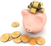 Piggy bank with a bow — Stock Photo