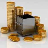 Safe with gold chinks — Stock Photo