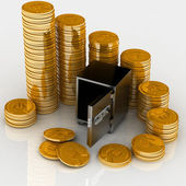 Open safe with gold chinks — Stock Photo