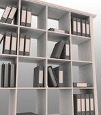 Estante de livros com instrumentos para escritório — Fotografia Stock