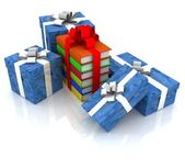 Gift boxes and books, bandaged by ribbon — Stock Photo