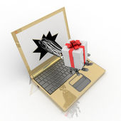 Hand delivers a gift from the laptop screen — Stock Photo