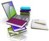 ноутбук, книги и другие инструменты для работы — Стоковое фото